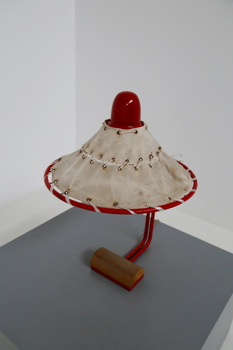 Sweden Table Lamps by Ingrid of Sweden in Aluminum Red and Linen Cotton, 1970s In Good Condition For Sale In Milano, IT
