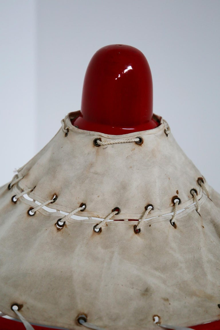 Sweden Table Lamps by Ingrid of Sweden in Aluminum Red and Linen Cotton, 1970s For Sale 3