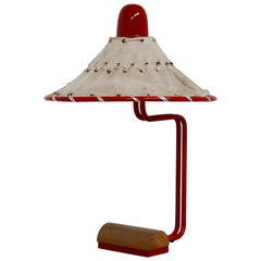 Sweden Table Lamps by Ingrid of Sweden in Aluminum Red and Linen Cotton, 1970s