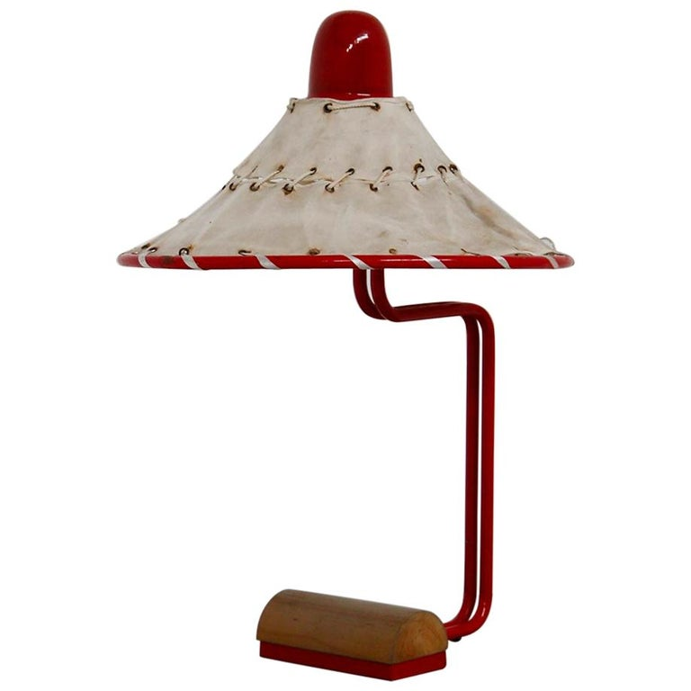 Sweden Table Lamps by Ingrid of Sweden in Aluminum Red and Linen Cotton, 1970s For Sale