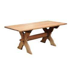 Swedish 1770s Sawbuck Trestle Farm Table with X-Form Base and Rustic Finish
