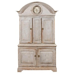Swedish 1780s Gustavian Painted Clock Cupboard with Bonnet Top and Doors