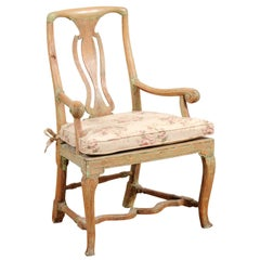 Swedish 1780s Rococo Armchair with Pierced Splat, Cabriole Legs and Stretcher
