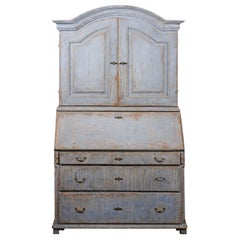 Swedish 1810s Late Gustavian Painted Two-Part Tall Secretaire with Bonnet Top
