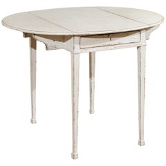 Swedish 1810s Late Gustavian Painted Wood Drop-Leaf Side Table with Drawer