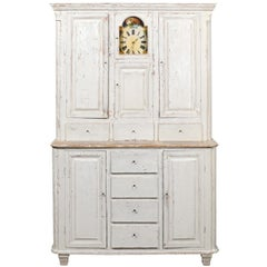 Swedish 1810s Painted Wood Clock Cupboard with Doors and Drawers