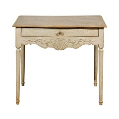 Swedish 1810s Period Gustavian Painted Side Table with Drawer and Carved Apron