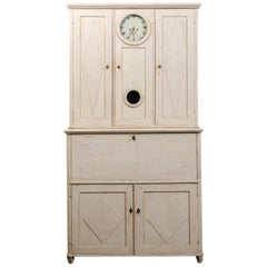 Swedish 1820s Gustavian Period Painted Clock Cupboard with Drop-Front Desk