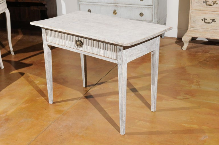 Swedish 1820s Gustavian Style Painted Wood Table with Drawer and Reeded Accents For Sale 6