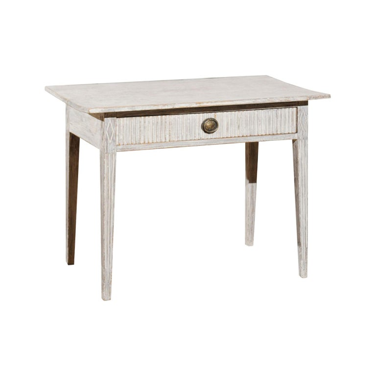 Swedish 1820s Gustavian Style Painted Wood Table with Drawer and Reeded Accents For Sale