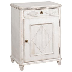 Swedish 1830s Gustavian Style Bedside Table with Drawer, Door and Diamond Motifs