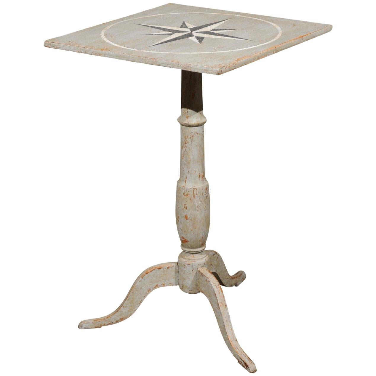 Swedish 1850s Grey Painted Guéridon Pedestal Side Table with Wind Rose Motif