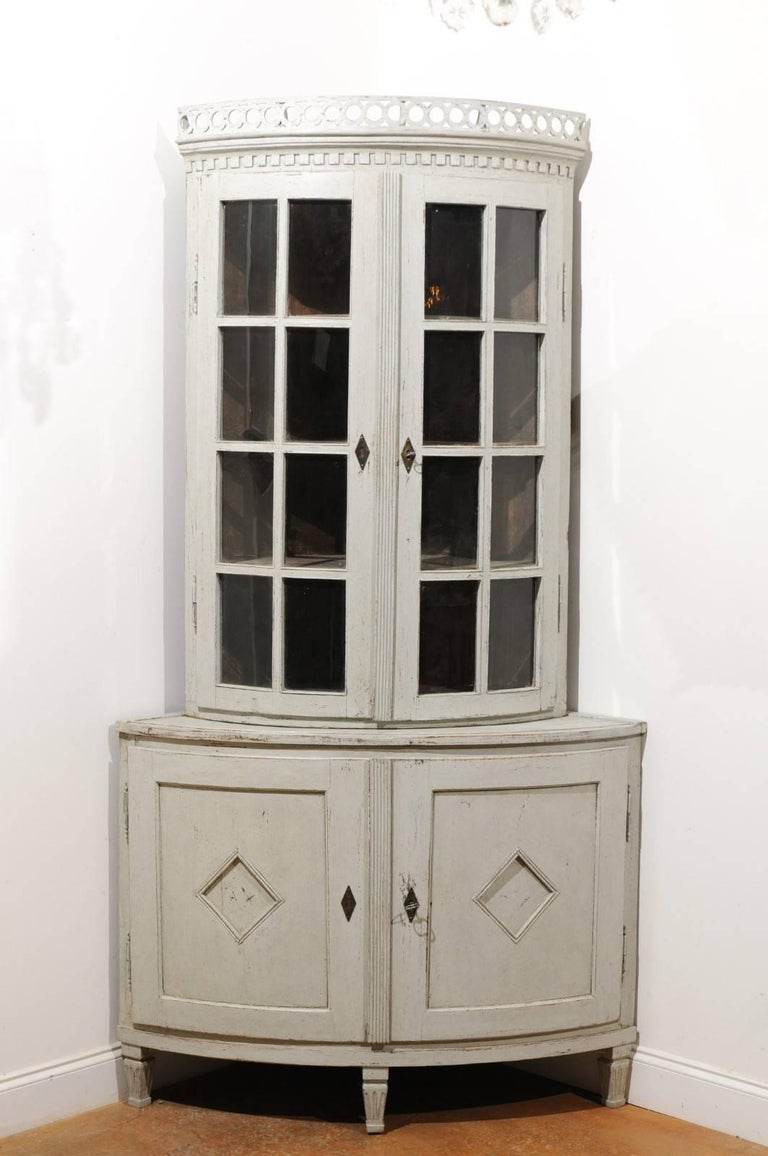 Swedish 1850s Gustavian Style Corner Cabinet With Glass Doors And