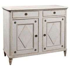 Swedish 1850s Gustavian Style Painted Buffet with Two Drawers over Two Doors