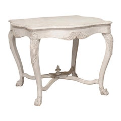 Swedish 1850s Painted Center Table with Carved Volutes and Cross Stretcher