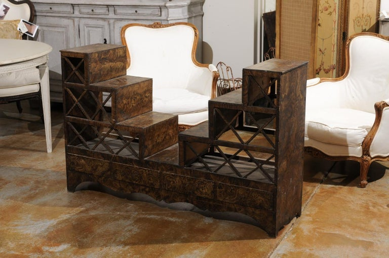 Swedish 1860s Stepped Flower Stand with Drawers, Scalloped Apron and X Motifs 4