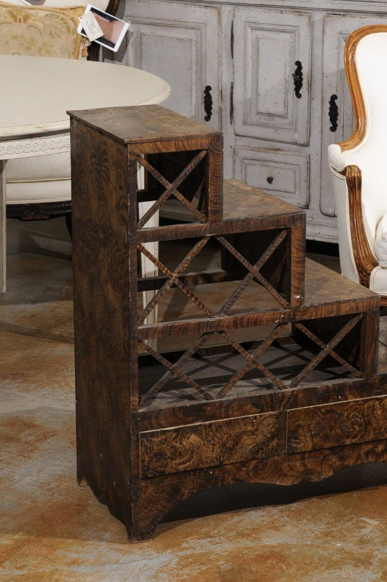 Swedish 1860s Stepped Flower Stand with Drawers, Scalloped Apron and X Motifs In Good Condition In Atlanta, GA