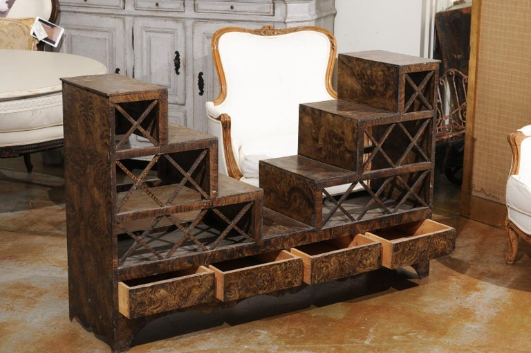 19th Century Swedish 1860s Stepped Flower Stand with Drawers, Scalloped Apron and X Motifs