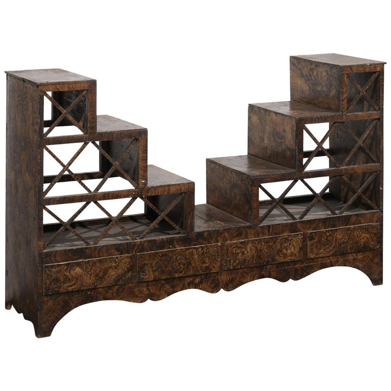 Swedish 1860s Stepped Flower Stand with Drawers, Scalloped Apron and X Motifs