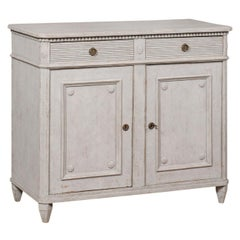 Swedish 1880s Gustavian Style Painted Sideboard with Two Drawers over Two Doors