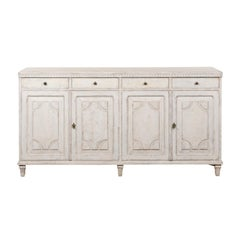 Swedish 1880s Painted Sideboard with Carved Motifs, Four Drawers over Four Doors
