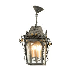 Swedish 1890s Black Iron Three-Arm Lantern with Gilt Floral Accents and Scrolls