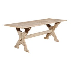 Swedish 1890s Painted Trestle Farm Table with X-Form Base and Distressed Finish