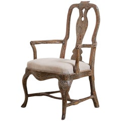 Schwedischer Barocker Stuhl in der Originallackierung