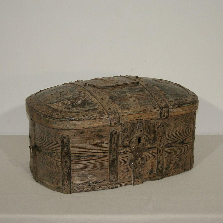 Folk Art Swedish 18th Century Bentwood Travel Box or Chest
