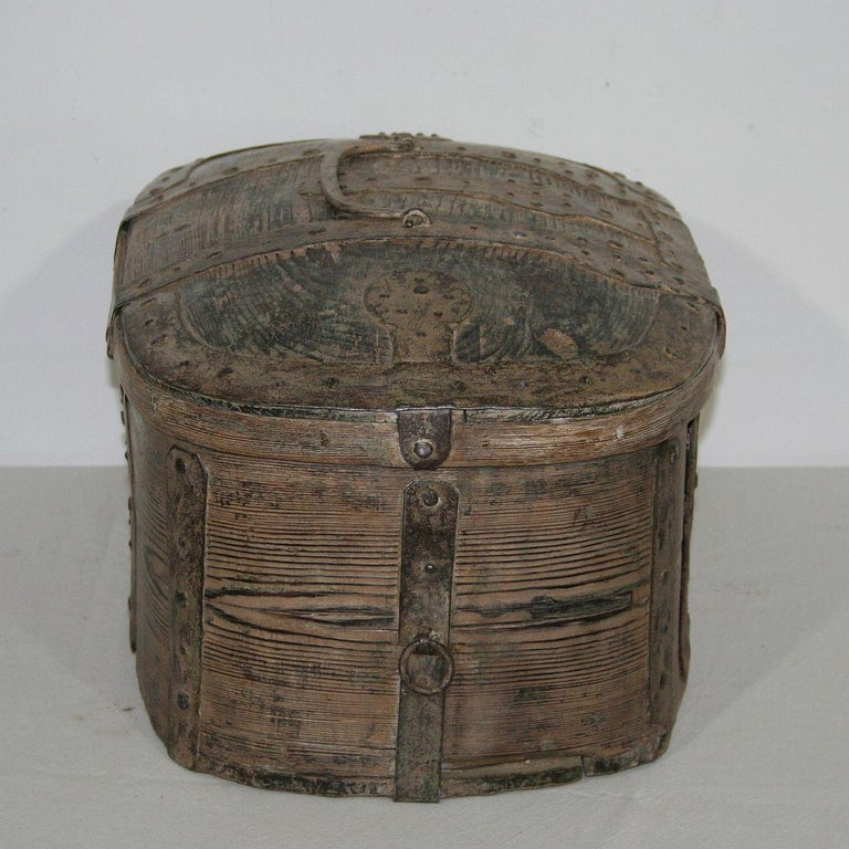 Wood Swedish 18th Century Bentwood Travel Box or Chest