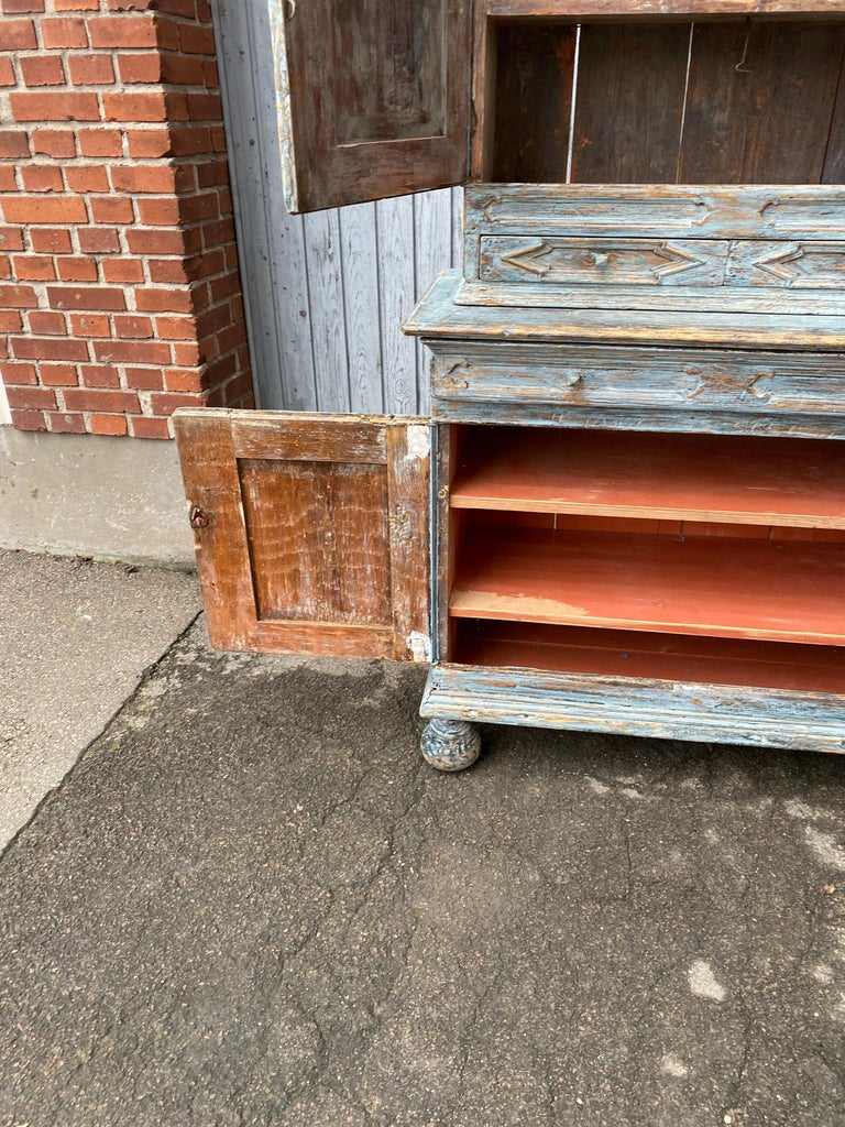 Swedish 18th Century Blue Painted Rococo Cabinet, circa 1760 For Sale 8