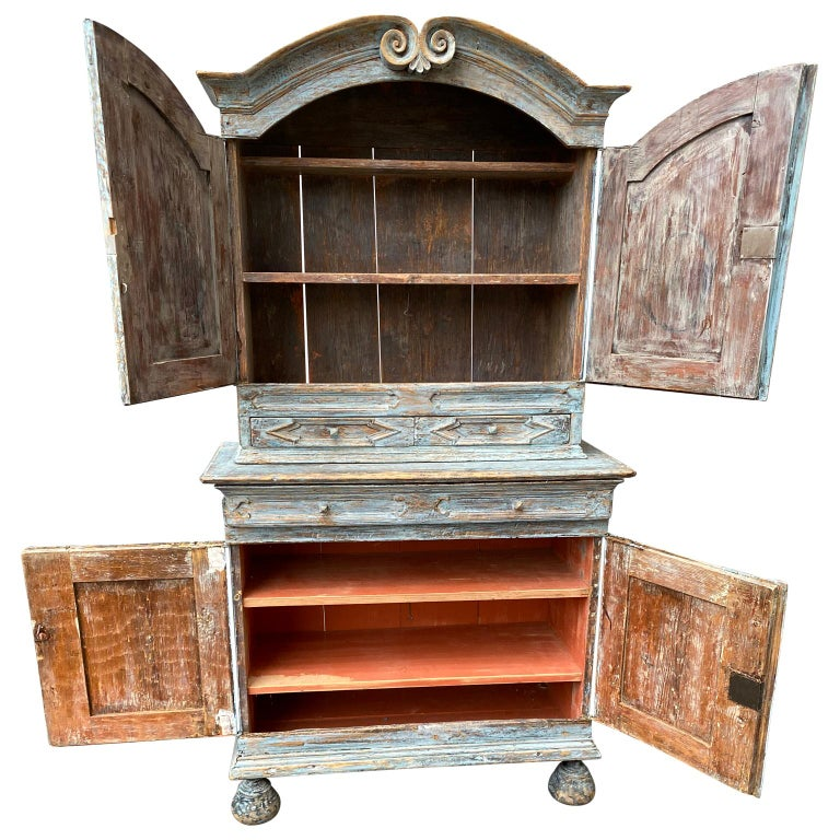 Hand-Painted Swedish 18th Century Blue Painted Rococo Cabinet, circa 1760 For Sale