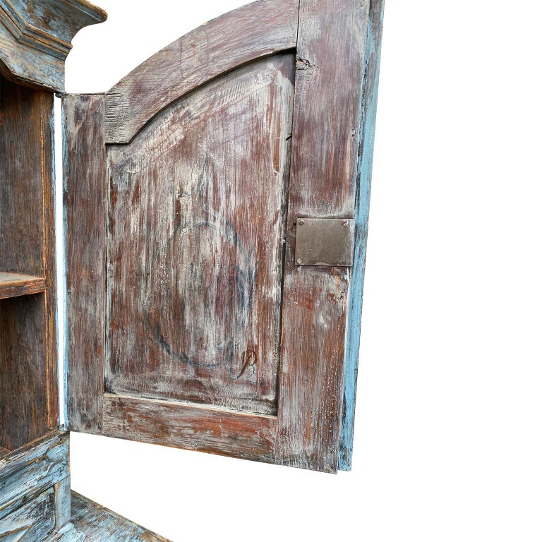 Pine Swedish 18th Century Blue Painted Rococo Cabinet, circa 1760 For Sale