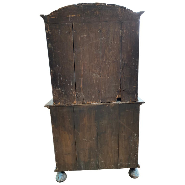 Swedish 18th Century Blue Painted Rococo Cabinet, circa 1760 For Sale 1