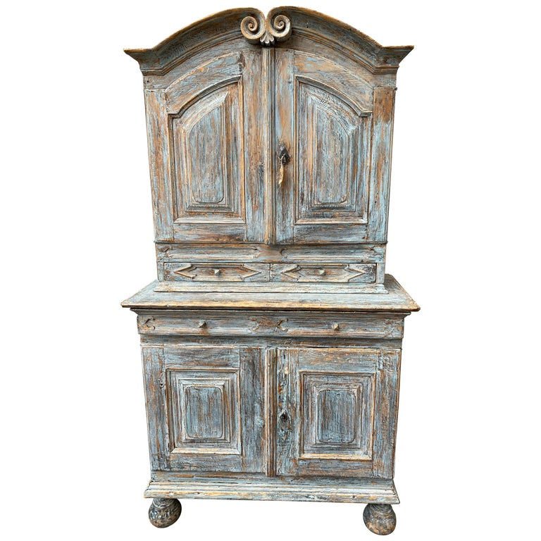 Swedish 18th Century Blue Painted Rococo Cabinet, circa 1760 For Sale