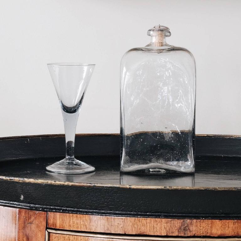 Hand-Crafted Swedish 18th Century Flask with Glass For Sale