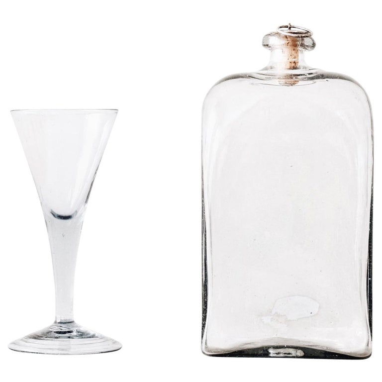 Swedish 18th Century Flask with Glass For Sale