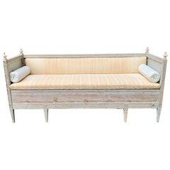 Swedish 18th Century Gustavian Sofa Bench in Old Gray Paint