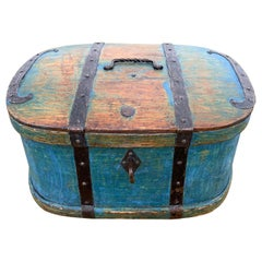 Swedish 18th Century Original Blue Folk Art Painted Box