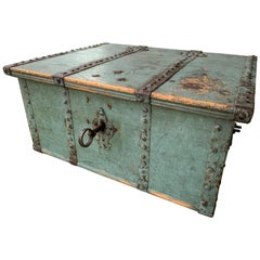 Swedish 18th Century Originally Blue Painted Wooden Box