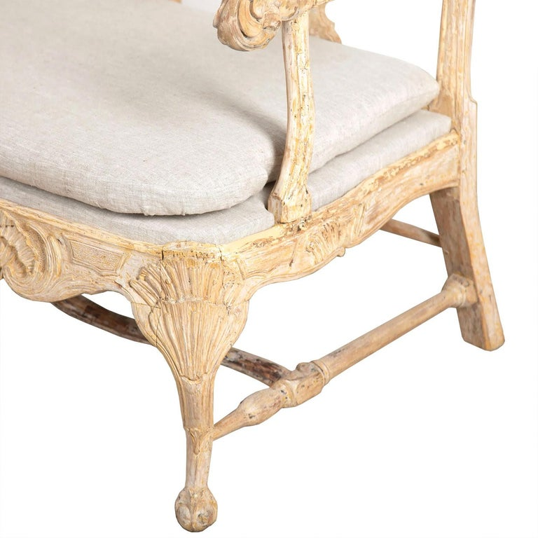Wood Swedish 18th Century Period Original Paint Rococo Sofa For Sale
