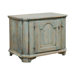Swedish 18th Century Wood Cabinet in Lovely Teal Blue Hues
