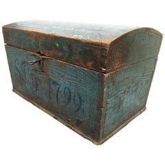 Swedish 18th Century Wooden Monogrammed and Dated Folk Art Box
