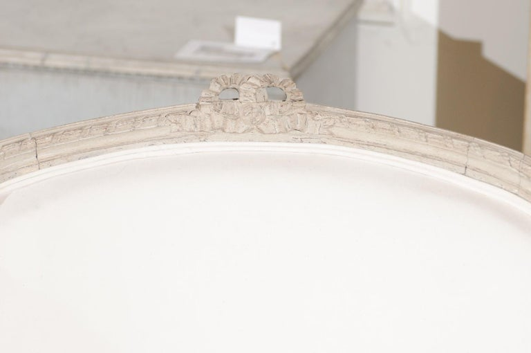 Swedish 1920s Neoclassical Style Painted Barrel Back Upholstered Bergère Chair For Sale 5