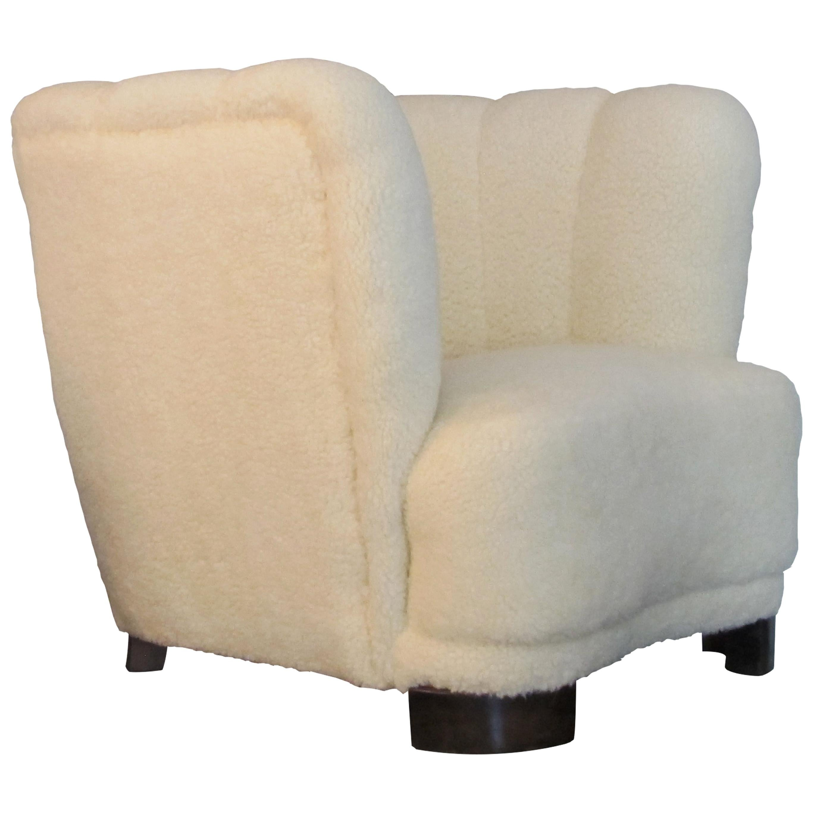 Swedish, 1930s Art Deco Single Club Armchair Newly Upholstered, Lambskin Fabric