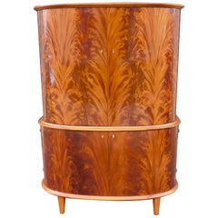 Swedish 1940s Moderne Storage Cabinet in Flame Mahogany