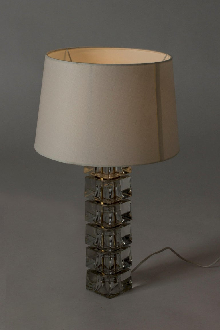 Scandinavian Modern Swedish 1960s Crystal Glass Table Lamp For Sale