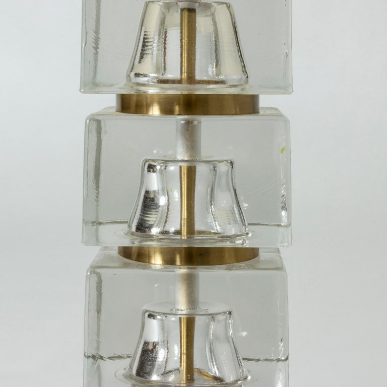 Swedish 1960s Crystal Glass Table Lamp In Good Condition For Sale In Stockholm, SE