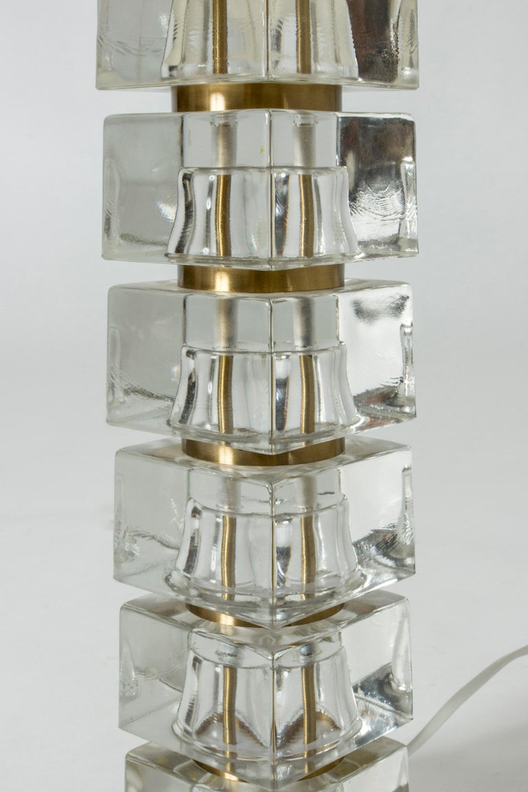 Mid-20th Century Swedish 1960s Crystal Glass Table Lamp For Sale