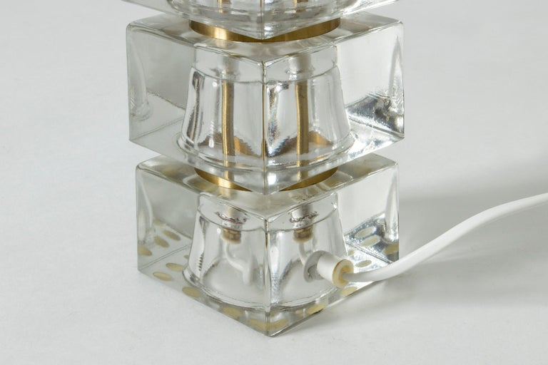 Swedish 1960s Crystal Glass Table Lamp For Sale 1